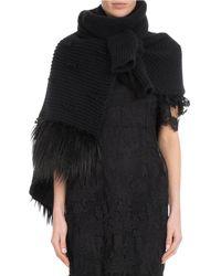 Simone Rocha - Patchwork Knit Scarf W/ Faux-fur - Lyst