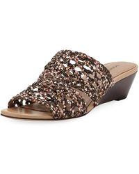 8e136c88a0a Donald J Pliner - Albi Snake-print Woven-leather Demi-wedge Slide Sandals
