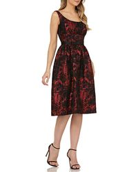 Kay Unger - Scoop-neck Jacquard Dress W/ Pockets - Lyst