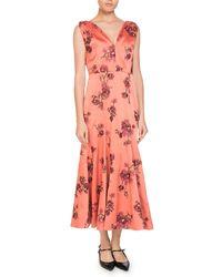 9572532f3bc Erdem - Honora V-neck Sleeveless Pine Floral-embroidered A-line Ankle Dress