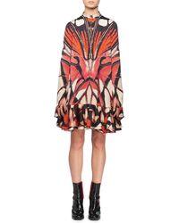 Alexander McQueen - Long-sleeve Painted Lady Butterfly Print Silk Mini Dress W/ Ruffled Hem - Lyst