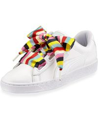 52b61aac84d4e6 Lyst - PUMA Basket Wide-strap Platform Sneakers in White