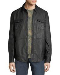 John Varvatos - Men's Oiled Leather Western Shirt Jacket - Lyst