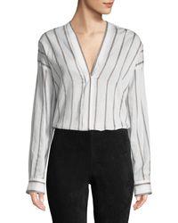 713a08f70ba FRAME Ruffle V-neck Long-sleeve Blouse in White - Lyst