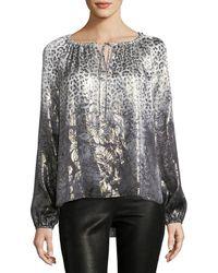 Elie Tahari - Mariella Long-sleeve Metallic Silk-blend Blouse - Lyst