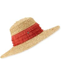 43a351fb5063ad Eric Javits Corfu Woven Sun Hat W/ Braided Pompom Detail - Lyst