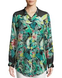 Johnny Was - Solo Long-sleeve Button-front Tropical Blouse - Lyst
