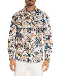 Robert Graham - Botanical Print Regular Fit Button-down Shirt - Lyst