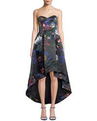 Parker Black - Roxanne Strapless High-low Floral Satin Dress - Lyst