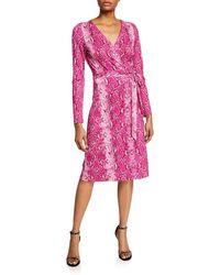 d115ccf3db2 Diane von Furstenberg - Julian Long-sleeve Python-print Wrap Dress - Lyst