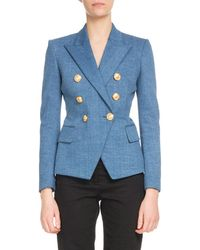 8ddb473a6e94 Balmain - Double-breasted Classic Denim Blazer - Lyst