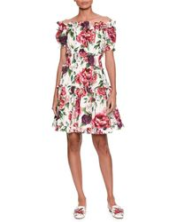 Dolce & Gabbana - Off-the-shoulder Short-sleeve Rose & Peony-print Cotton Poplin Dress - Lyst