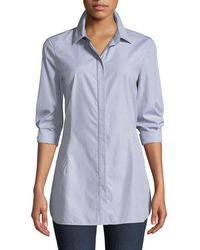 Lafayette 148 New York - Jake Button-front Long-sleeve Cotton Shirting Blouse - Lyst