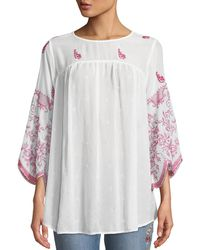 Johnny Was - Rose-stitch Georgette Blouse With Drama Sleeves - Lyst