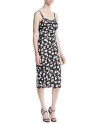 Michael Kors - V-neck Sleeveless Floral Lace Guipure Rose-embroidered Slip Midi Dress - Lyst