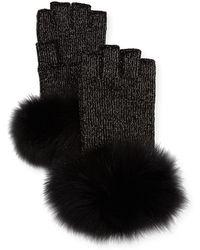 Sofia Cashmere - Lurex® Knit Fingerless Gloves W/ Fur Cuffs - Lyst
