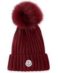 a1b4a47cd6e Moncler - Ribbed-knit Beanie Hat W fur Pompom - Lyst