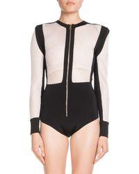 Balmain - Long-sleeve Zip-front Bicolor Mesh Bodysuit - Lyst