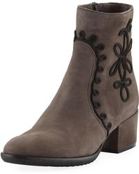 Sesto Meucci - Fenny Embellished Suede Booties Taupe - Lyst
