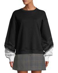 10 Crosby Derek Lam - Crewneck Lace-trim Sweatshirt With Poplin Sleeves - Lyst