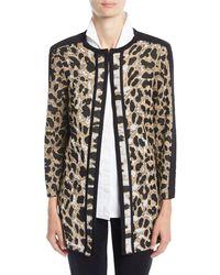 Misook - Animal-print Long Jacket - Lyst