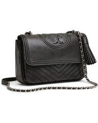 462119e5b2dc Lyst - Tory Burch Fleming Medium Quilted Shoulder Bag in Black