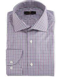 Ike Behar - Gold Label Tattersall Cotton-cashmere Dress Shirt - Lyst