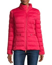 Save The Duck - Asymmetric-zip Puffer Jacket Tango Red - Lyst