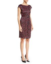 Emporio Armani - Cap-sleeve Belted-front Check-print Silk Dress - Lyst