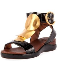 Chloé - Wanda Flat Crocodile-embossed Gladiator Sandals - Lyst