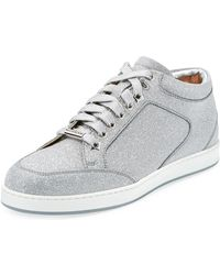 dfe08a5a7d117d Jimmy Choo - Miami Glitter Leather Low-top Sneakers - Lyst