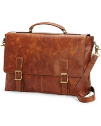 Frye - Logan Antique Leather Flap Briefcase - Lyst