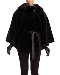 Gorski - Belted Sheared Mink Poncho With Chevron Accents - Lyst