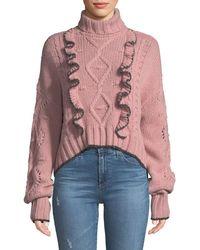 Cinq À Sept - Edna Ruffle Turtleneck Cropped Sweater - Lyst