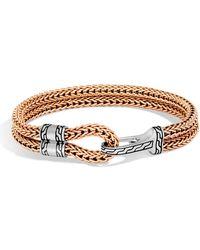 John Hardy - Sterling Silver Classic Chain Bronze Hook Station Bracelet - Lyst