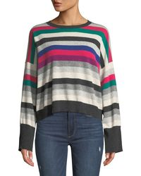 Autumn Cashmere - Striped Wide-sleeve Cashmere Sweater - Lyst