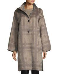 Eileen Fisher - Luxe Alpaca/wool Plaid Coat - Lyst