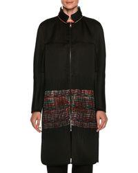 Giorgio Armani - Satin Reversible Coat With Floral-print & Sheer Lattice - Lyst