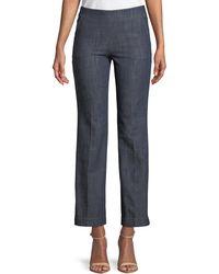 Giorgio Armani - Straight-leg Crop Denim Trousers With Side Zip - Lyst