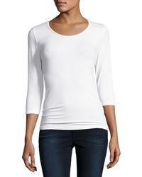 Neiman Marcus - Soft Touch Long-sleeve Scoop-neck Tee - Lyst