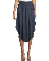 Halston - Ruched-waist Flowy Midi Skirt - Lyst