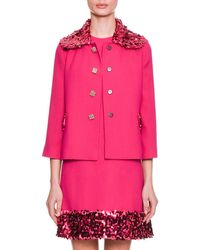 Dolce & Gabbana - Jewel-button Bracelet-sleeve Wool-blend Jacket W/ Sequin Jacket - Lyst