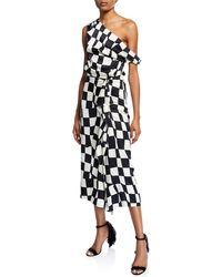 Oscar de la Renta - One-shoulder Checked Wave Dress - Lyst