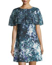 Tahari - Floral-print Ruffle Crepe De Chine Dress - Lyst