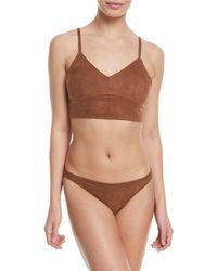 Miguelina - Morgan V-neck Microsuede® Two-piece Swim Set - Lyst
