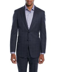 Brioni - Men's Windowpane Two-piece Wool-silk Suit - Lyst
