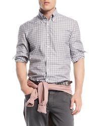 Brunello Cucinelli - Men's Windowpane Cotton Sport Shirt - Lyst