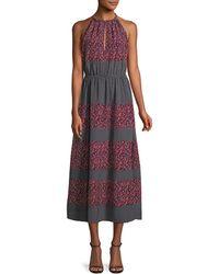 Robert Rodriguez - Sleeveless Halter Mixed-print Midi Dress - Lyst