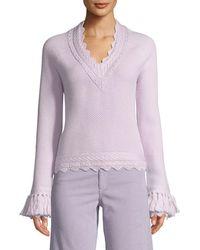 Jonathan Simkhai - Scalloped V-neck Wool Tassel-cuff Sweater - Lyst