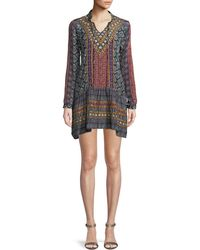 Tolani - Rory V-neck Mixed-print Flounce-hem Tunic Dress W/ Embroidery - Lyst